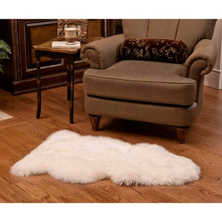 - Shear Style Natural Single Sheepskin Area Rug, Natural