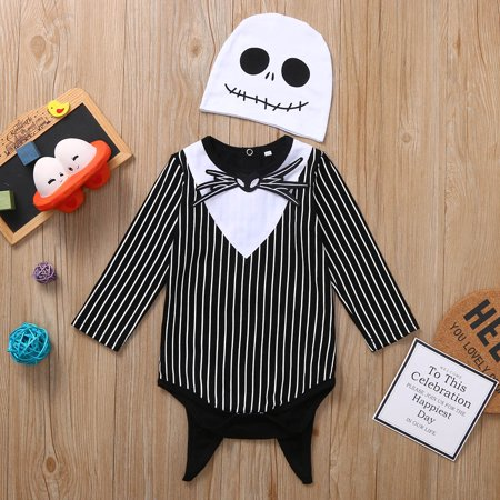 Staron 2019 Halloween Cool Newborn Baby Boy Girl Bat Striped Romper Hat Outfits Costume