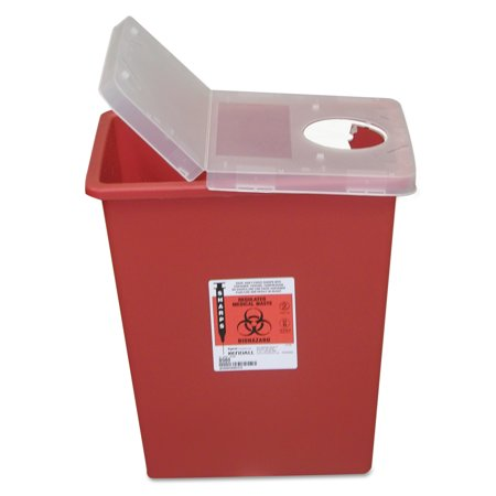 - Covidien Sharps Containers, Polypropylene, 8 gal, 15 1/2 x 11 x 17 3/4, Red