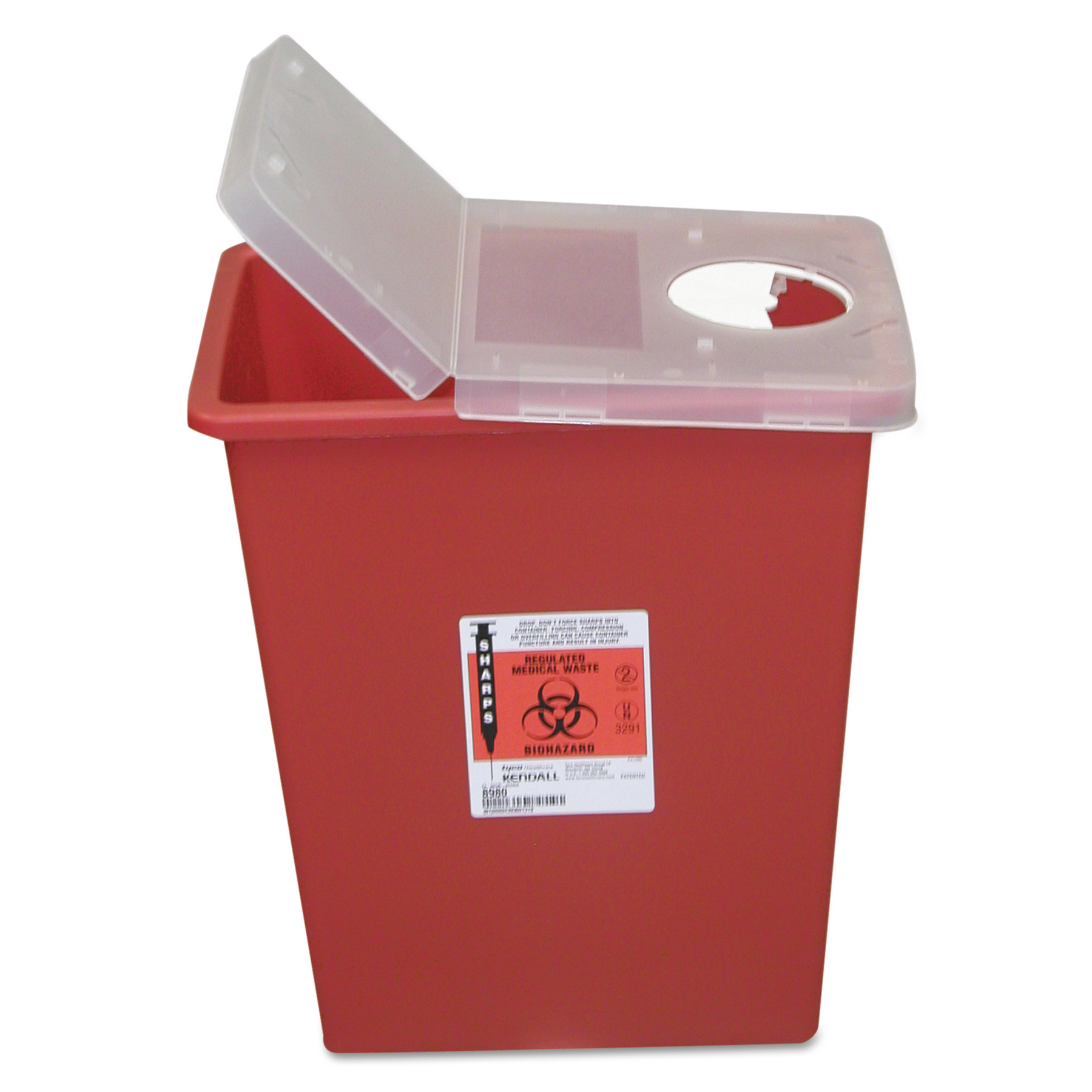 Covidien Sharps Containers, Polypropylene, 8 gal, 15 1/2 x 11 x 17 3/4, Red