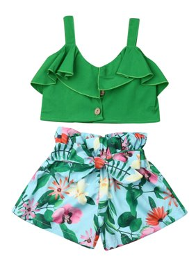 Fashion Kids Toddler Baby Girls Crop Tops Floral Short Pants Outfits Clothes