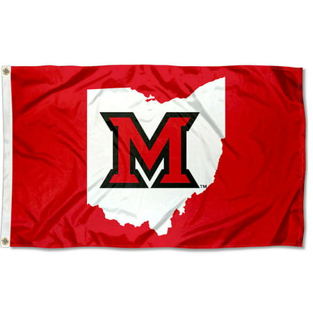 Miami University Redhawks State Logo Flag ()