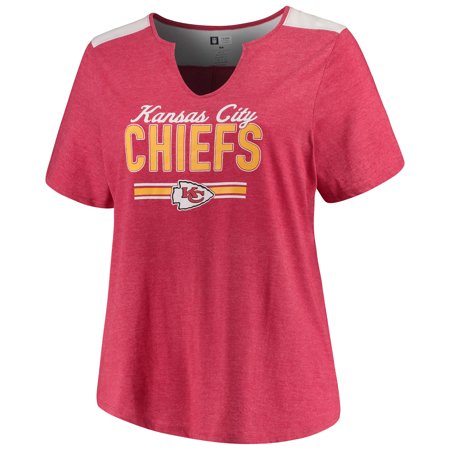 - Women's Majestic Heathered Red Kansas City Chiefs Notch Neck Plus Size T-Shirt