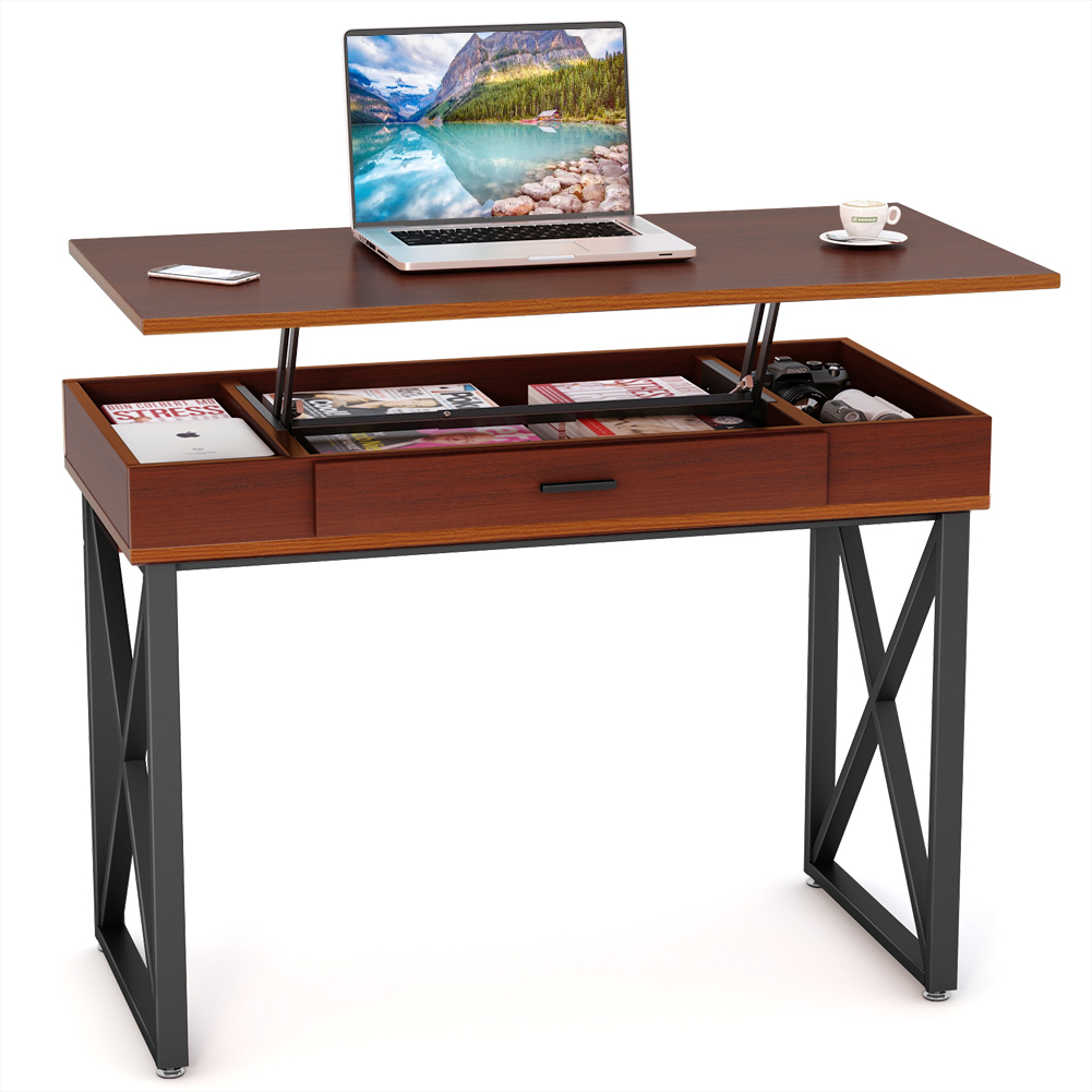 Tribesigns Height Adjustable Standing Desk, Lift Top Computer Desk with Storage Drawers