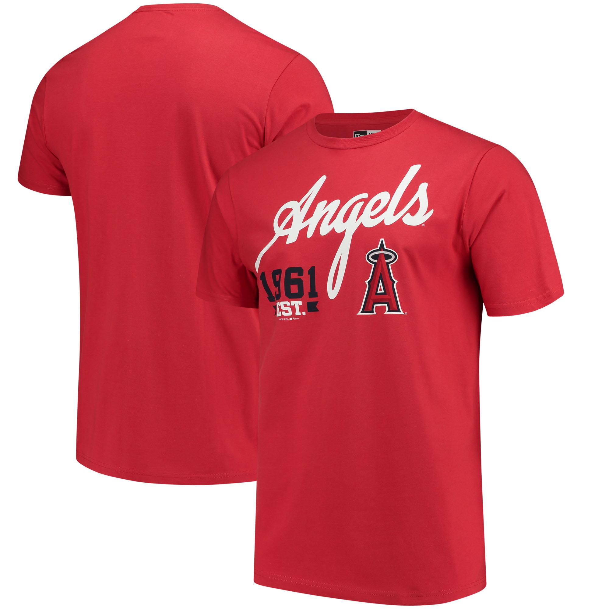 Men's New Era Red Los Angeles Angels Script Jersey T-Shirt