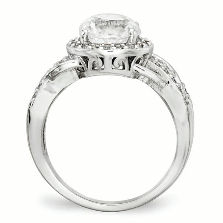 Cheryl M Sterling Silver CZ 100-Facet Fancy Ring Size 8 - image 1 of 3
