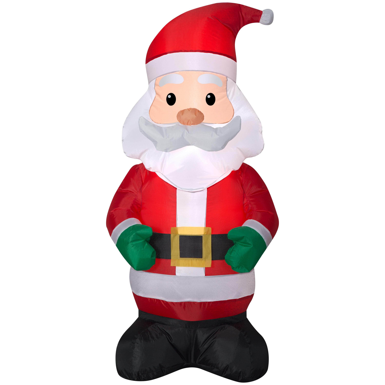 Holiday Time Yard Inflatables Santa 4 Ft Walmart Com Walmart Com