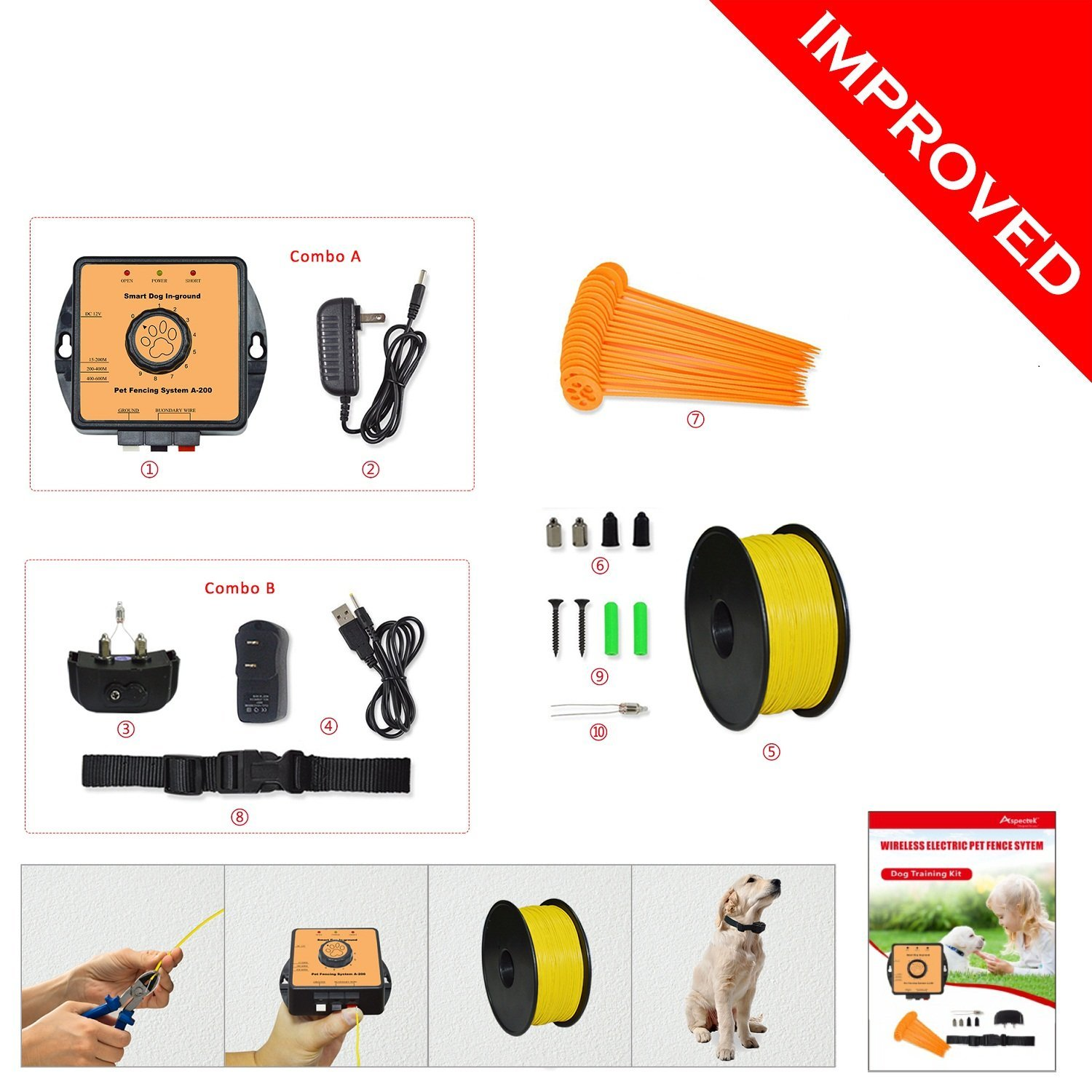 PetsN'all Electronic Pet Fence with Water Resistant Electric Dog Collar and Transmitter by