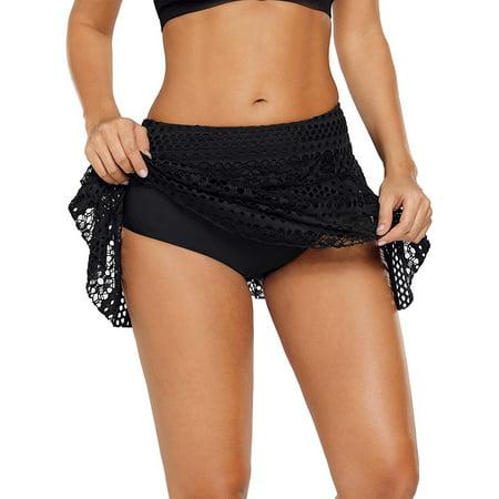 711ONLINESTORE Women's Bathing Suit Bottom Swimming Lace Crochet Skirt (Ruffle Back Skirt Suit)