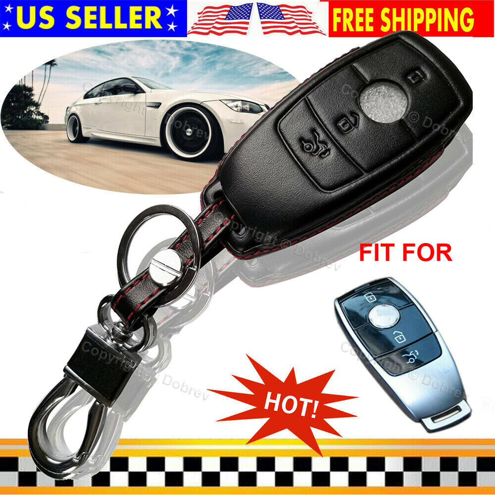 Genuine Leather Key Fob Case Cover Protective Frame Decals For Mercedes Benz