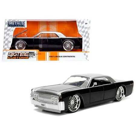 1963 Lincoln Continental Black with Silver Top 1/24 Diecast Model Car by (Scalextric Continental Sports Cars Best Price)