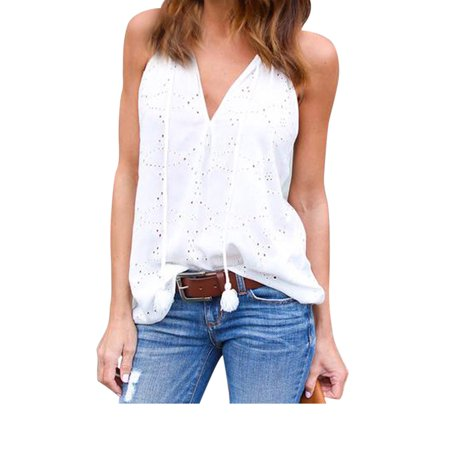 Sexy Sleeveless T Shirt For Women V Neck Plain Summer Vest Embroidery Spaghetti Strap Loose Casual Blouse Tops