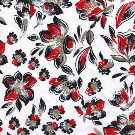 Shason Textile Craft Projects Poly Cotton Floral Print Fabric, 3 Yards Cut