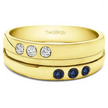 TwoBirch Diamonds (G,I2) and Sapphire Mounted in Silver Diamonds(G,I2) and Sapphire 3 Stone Burnished Set Men's Ring(.48crt) - Mens Burnish Set Diamond
