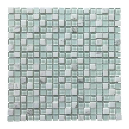 Glass Tile Stone Mosaic Decorative Wall Tile for Kitchen Backsplash (4 Pack)