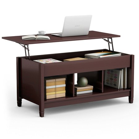 Costway Lift Top Coffee Table w/ Hidden Compartment and Storage Shelves Modern