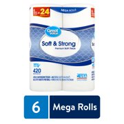 Great Value Soft & Strong Premium Bath Tissue, 6 count