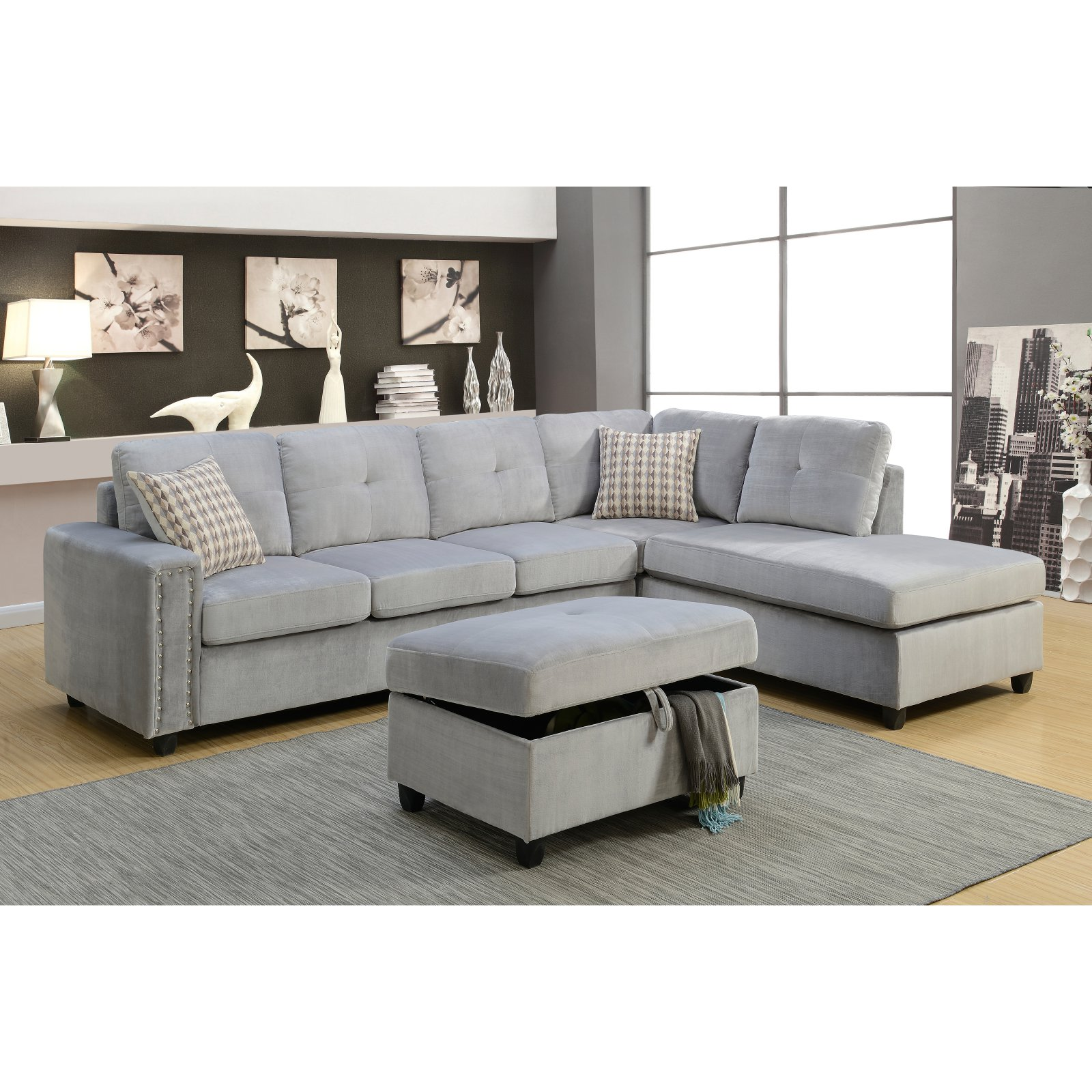 ACME Belville Reversible Sectional Sofa with 2 Pillows, Chocolate Velvet by Acme Furniture