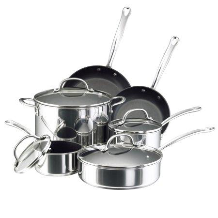 Farberware Millennium Stainless Steel Nonstick Cookware Set, 10-Piece
