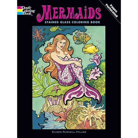 mermaids stained glass coloring book - Stained Glass Coloring Book