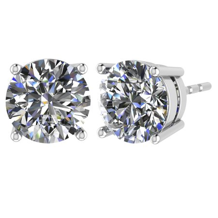 0.30cttw Swarovski Zirconia Round CZ Solitaire Stud Earrings Sterling Silver & Hypoallergenic Stainless Steel Post White Gold Plated Gold Cubic Zirconia Trio