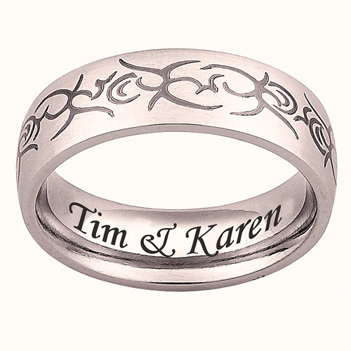 Personalized Stainless Steel Engraved Tribal Band