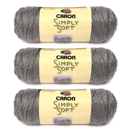 Simply Soft Heather Yarn-Soft Grey (3-pack), Fiber Content: High quality, 100% super-soft, no dye lot acrylic. Weight: Medium, worsted weight, #4. By Caron International
