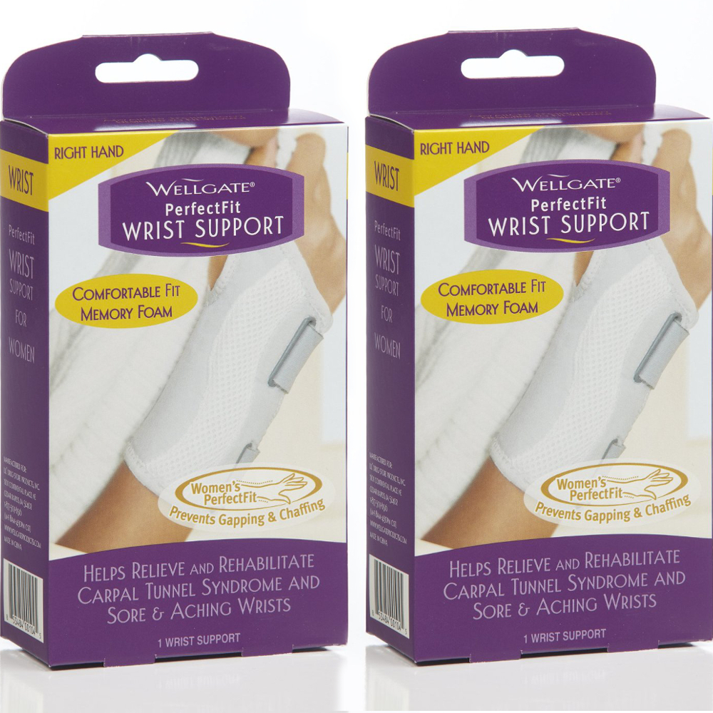 2 Pack Wellgate For Women PerfectFit Wrist Support CARPAL TUNNEL, Right Hand