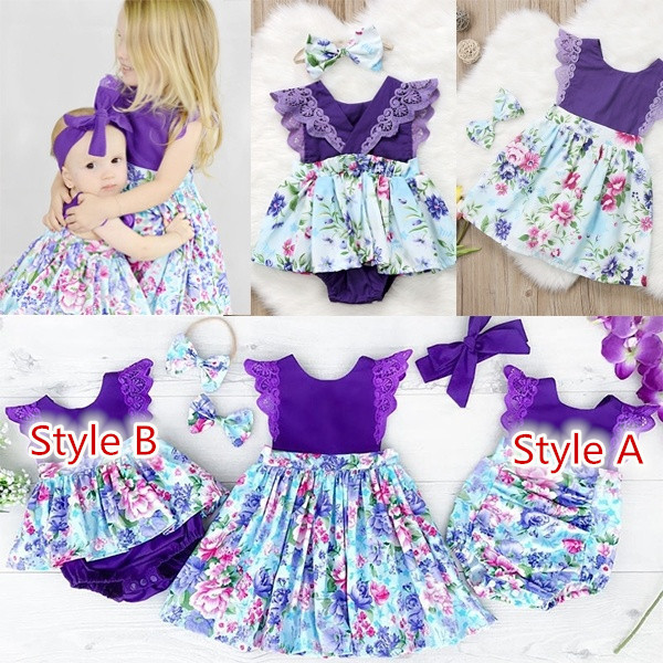 Newborn Baby Girl Sister Matching Floral Clothes Jumpsuit Romper Dress Outfits P