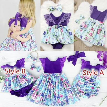 Newborn Baby Girl Sister Matching Floral Clothes Jumpsuit Romper Dress Outfits (Dress Sister Sam)
