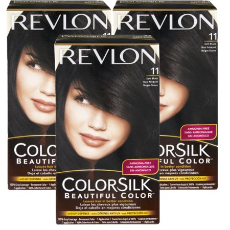 (3 Pack) Revlon ColorSilk 11 Soft Black Permanent Hair Color, 1.0 KIT