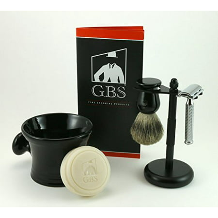 5 Piece Shave Kit - Include Merkur 42001 Safety Razor, Gbs Mug,100% Pure Badger Brush,97% All Natural Ocean Driftwood Shave Soap, Stand, and Extra Blades - Black Edition ()