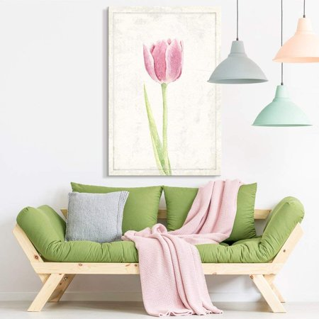 wall26 - Canvas Wall Art - Hand Drawn Pink Crocus Flower Series Artwork - Giclee Print Gallery Wrap Modern Home Decor Ready to Hang - 12x18 inches