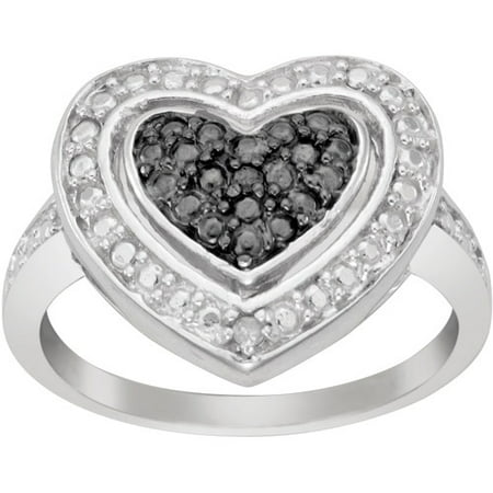 black and white diamond accent sterling silver heart ring. Black Bedroom Furniture Sets. Home Design Ideas