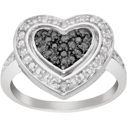 Black and White Diamond Accent Sterling Silver Heart Ring