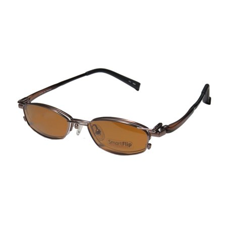 New Smartflip 413 Mens/Womens Designer Half-Rim Chocolate 2 Sets Of Polarized Polaroid Lenses Hip Frame Demo Lenses 50-18-140 Sunglass Lens Clip-Ons Eyeglasses/Spectacles