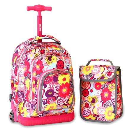 J World Lollipop Kids 16 in. Rolling Backpack with Lunch Bag ...