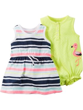 46723e7a8 Product Image Carters Baby Girls 2-Pack Romper & Dress Flamingo Dot &  Stripe Pink/Yellow