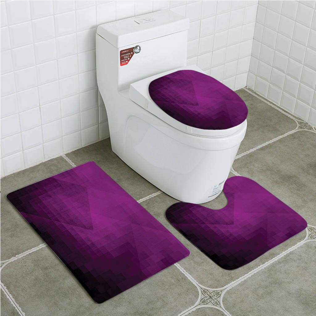 Gohao Eggplant Abstract Purple Squares In Faded Color Scheme Modern Art Inspired 3 Piece Bathroom Rugs Set Bath Rug Contour Mat And Toilet Lid Cover Walmart Com Walmart Com