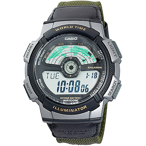 Casio Men's Watch, Green Nylon Strap