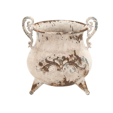 Classy Designed Metal Vase With Rusty Look And Antiqued Charm