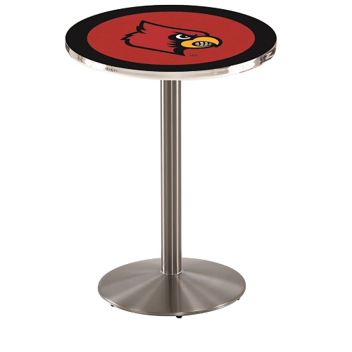 NCAA Pub Table by Holland Bar Stool, Stainless - Louisville Cardinals, 36'' - L214