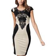 Women's Crochet Embellished Short Sleeve Round Neck Pencil Dress Apricot Black M