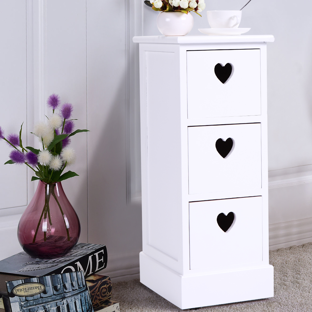 JAXPETY White Nightstand Table End Side Bedside Table Dresser Chests with 3 Storage Drawers