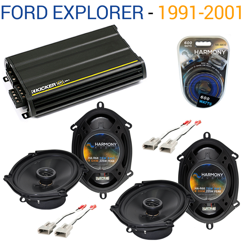 Ford Explorer 1991-2001 Factory Speaker Upgrade Harmony (2) R68 & CX300.4 Amp - Factory Certified Refurbished