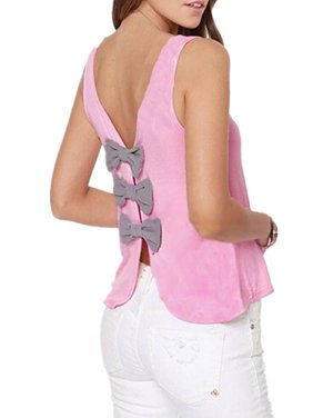 7e240223210066 Product Image Womens Fashion Casual Sleeveless Backless Back With Bow Strap  Vest