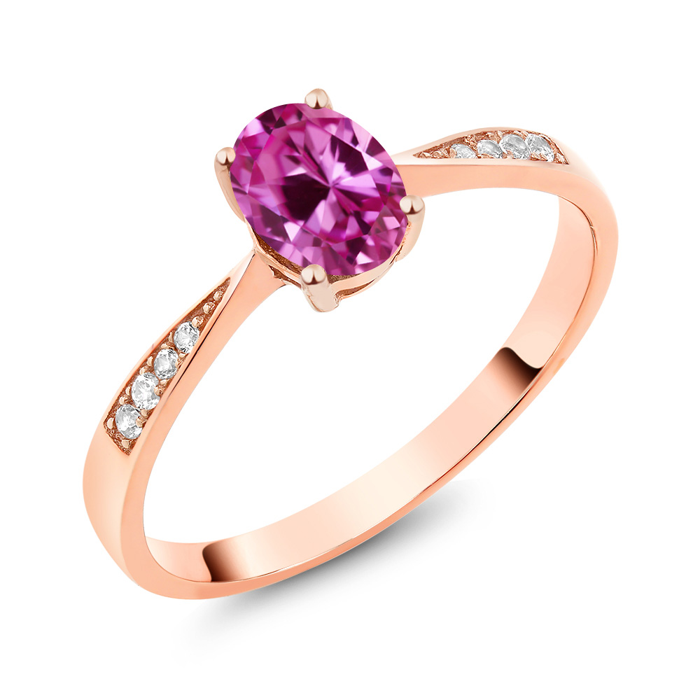 10K Rose Gold Diamond Ring with 0.96 Ct Oval Pink Created Sapphire by