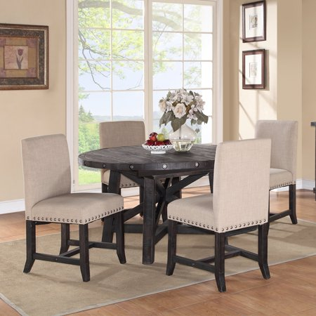 Modus Round Yosemite 5 Piece Dining Table Set With Upholstered Chairs