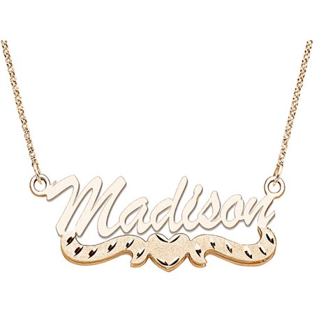 Personalized Large 3D Script Name With Diamond Cut Heart Tail 14Kt Gold Plated Necklace  18
