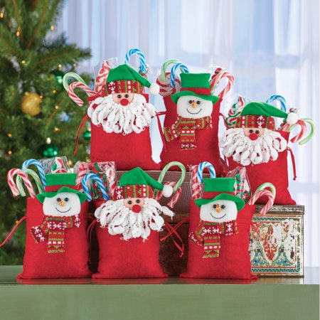 Festive Holiday Treat Bags - Set of 6 - Decorative Sacks for Food or Gifts ()